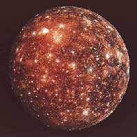 Callisto, a moon of Jupiter, is covered with craters produced when asteroids and comets struck its icy surface. Beneath the surface may be an ocean of salty liquid water.