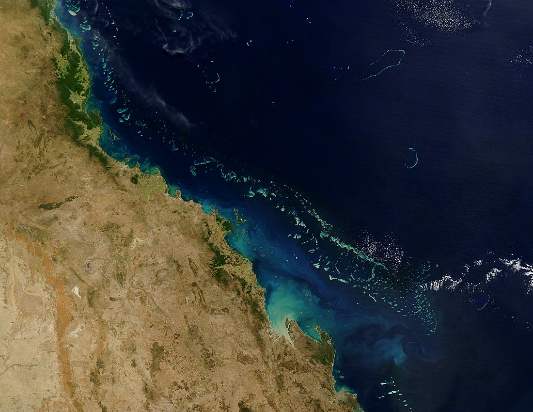 Australia's The Great Barrier Reef arches over 2000 kilometers along the northeast coast of Australia.