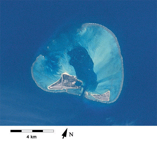 View of Midway Atoll from Space Shuttle