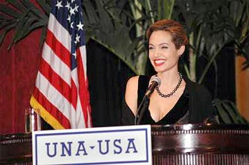 UN refugee agency Goodwill Ambassador Angelina Jolie receives the the 2005 Global Humanitarian Action Award