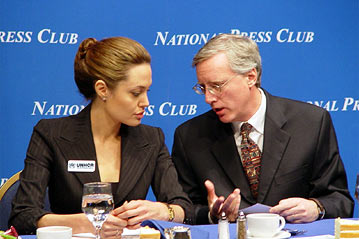 Angelina Jolie speaks with William McCarren