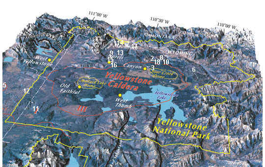Supervolcano Yellowstone caldera map