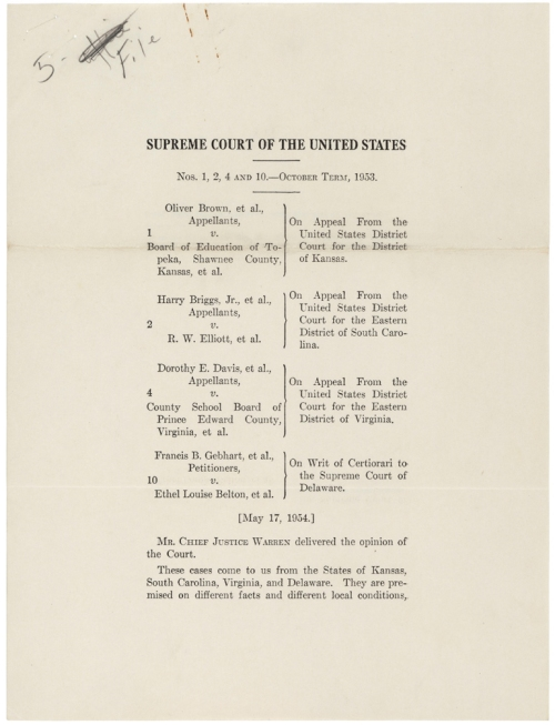 1954 Brown v. Board of Education
