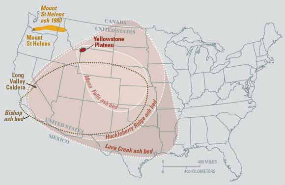 Supervolcano Yellowstone ash map