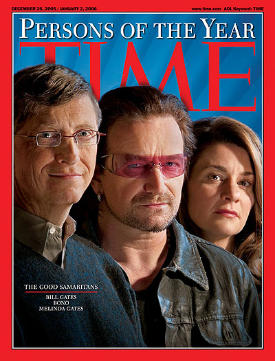 n December 2005, Bono was named by TIME as one of the Persons of the Year, along with Bill and Melinda Gates.
